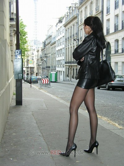 Leather mini and black pantyhose video