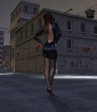 Dark street. Latex. Seamed pantyhose.