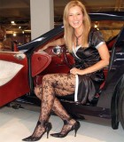 """Car-girl"" in lacy pantyhose"