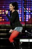 Sarah Silverman. 1x shorts, 2x pantyhose, 3x microphones