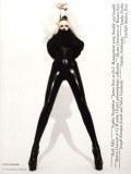 Crazy fashion: latex catsuit + fur +