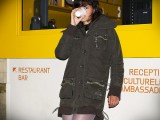 Winter parka and 7cm of lilac pantyhose