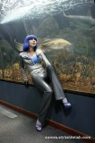 Aurora in latex clothes and high heels