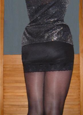 and black skirt pantyhose Leather