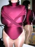 Shiny gymnastic leotard shiny pantyhose and bondage 2