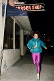 jogging in pink shiny leggings