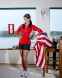 Does Sarah Palin jog in pantyhose? Her legs look too dark (and shiny) in comparison to her hands and face.