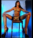 stella-44 van Gent  in semi-transparent latex lingerie and high-heels