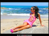 Stella van Gent in pink latex mini-dress and high heels-27