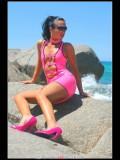 Stella van Gent in pink latex mini-dress and high heels-28