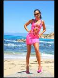 Stella van Gent in pink latex mini-dress and high heels-29