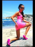 Stella van Gent in pink latex mini-dress and high heels-31