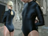 shiny wetlook leotard with long sleeves