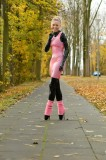 Golden autumn, shiny latex, ballet boots