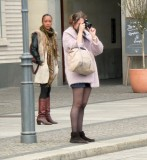 black sheer pantyhose and photo camera