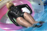 Latex leotard and transparent latex pantyhose with back-seams