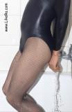Self-bondage, single-glove, pantyhose, swimsuit