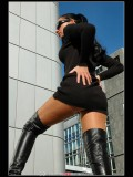 stella van gent in thigh high boots and shiny pantyhose