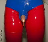 Latex rubber shorts, latex pantyhose with unzipped crotch, transparent small piss condom