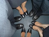 stewardesses in shiny pantyhose