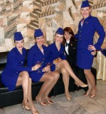 stewardesses in shiny pantyhose
