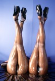 pantyhose high heels oil wetlook