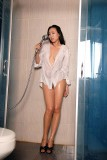 pantyhose high heels white shirt shower