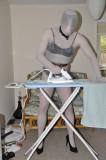 Zentai or pantyhose encasement make boring chores more entertaining