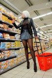 sheer black pantyhose high heels leather mini skirt supermarket