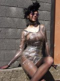 Pantyhose encasement and transparent PVC clothes