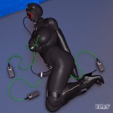 bondage in latex zentai single-glove high heels