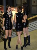 Shiny pantyhose and latex mini dresses