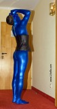 My first shiny blue metallic zentai suit