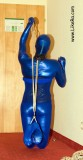 Self-bondage in zentai and fishnet tube