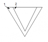 The bigger the angle the less pressure on the arms. Angle (2) is bigger than angle (1)