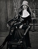 Kate Moss as a latex nun in W Magazine