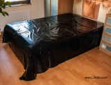 Black PVC bed cover from a DIY shop