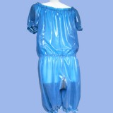 Erection of the day. Transparent latex baggy clothes.