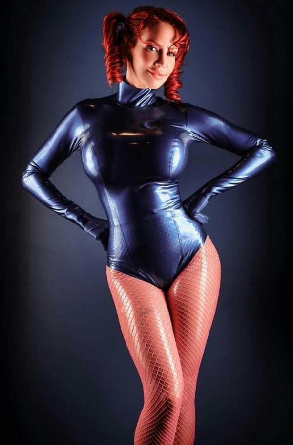 Bianca in latex leotard pantyhose and fishnets