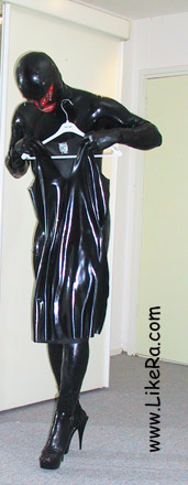Man in latex catsuit and mask